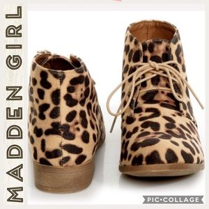 Madden Girl •Dontee Leopard •Lace Up Booties• 6.5M